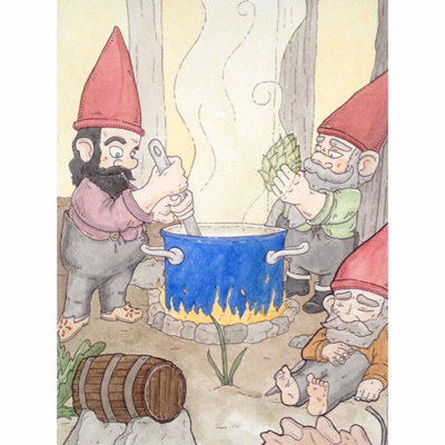 a painting of gnomes brewing beer